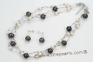 pnset557 Handcrafted White and Black Freshwater Pearl Sterling Silver Layer Necklace