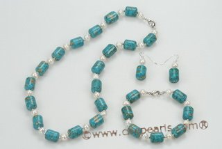 pnset559 Fashion White Potato pearl and Gemstone Jewelry Set for Xmas