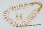pnset560 Handcrafted White and Golden Freshwater Pearl Layer Necklace& Earrings set