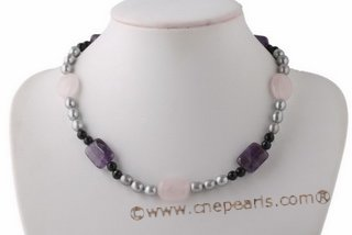 Pnset563 Smart Grey Rice Pearl and Gemstone Princess Necklace& Earrings