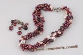 pnset568 Triple strands Colorful freshwater pearl twisted costume necklace