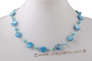 pnset570 Latest Fashion Freshwater pearl & Sehll Princess Necklace