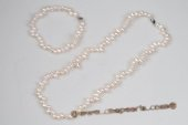pnset579 Hand Knotted 4-5mm White Seed Pearl Princess Necklace
