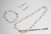 pnset580 Hand Crafted Sterling Silver Freshwater pearl Costume Necklace Set
