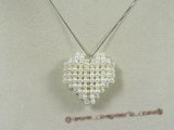 pp005 Hand-knotted white Pearl heart design Pendant in wholesale