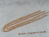 pps001 Five strands nature pink 5-6mm potato pearls