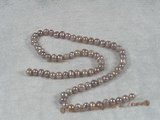 pps002 Five strands nature purple 5-6mm potato pearls