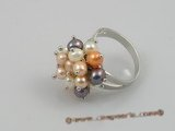 pr002 4-5mm multi-color potato pearls ring with adjustable 18KGP mounting