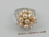 pr003 4-5mm pink potato pearls ring with adjustable 18KGP mounting