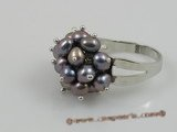 pr004 4-5mm black potato pearls ring with adjustable 18KGP mounting