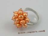 pr005 5-6mm saffron yellow potato pearls ring with adjustable 18KGP mounting