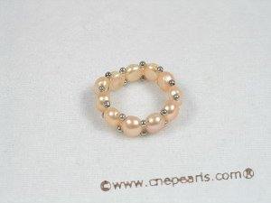 pr006 single row Pink Pearl Stretch Ring
