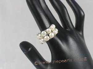 pr007 double-strand White bread Pearl Stretch Ring
