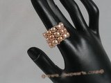 pr012 triple-strands pink bread Pearl Stretch Ring in wholesale