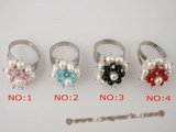 pr022 wholesale silver plate adjustable seed pearl ring with multicolor crystal