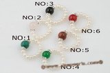 pr034 Fashion single row seed pearl& gemstone Stretch rings