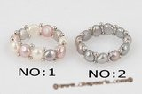 pr036 Fancy single row colorful bread Pearl Stretch Ring