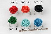 Pr040 18mm Carve Flower Artficial Coral Silver Toned Rings-Six style