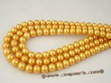 rounds10 luxury 10-10.5mm golden round freshwater pearl strands in wholesale price