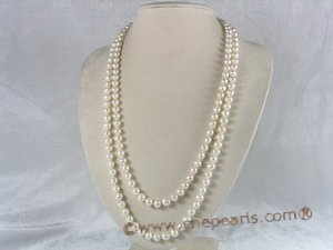 rpn011 7-8mm white potato shape cultured pearl Opera neckace
