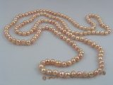 rpn012 7-8mm pink potato shape cultured pearl Opera neckace