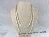 rpn017 6-7mm nature white rice shape pearl long neckace