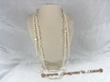 rpn020 4-5mm white side-drilled pearl rope necklace with coin pearls