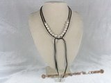 rpn031 Black Ribbon 8-9mm white POTATO pearl long necklace