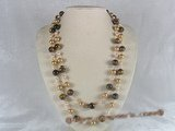 rpn041 48inch 10mm champagne shell pearls and tiger-eyes gemstone long necklace
