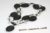 rpn117 Black leather coin shape gemstone long pearl necklace