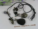 rpn139 Black long leather thong crystal necklace with freshwater pearl wholesale