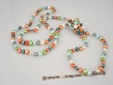 rpn152 wholesale 6-7mm mixing color nugget pearl rope long necklace at low price