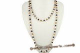 rpn190 Class hand knotted 6-7mm colorful potato pearl costume rope neckace