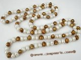 rpn198 8-9mm white& coffee freshwater potato pearl rope necklace in wholesale