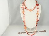 rpn204 Red glass beads matching red  blister pearl and coral long necklace