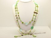 rpn206 7-8mm blister  pearl with  crystal beads rope necklace in wholesale