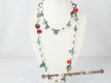rpn209 White long drilled nugget pearl matching blue blister casual style rope necklace