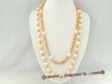 rpn213 Gold and White swirl Freshwater potato Pearl Long Necklace for summer