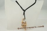 rpn221 Champagne and brown pearl black suede cord rope necklace