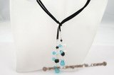 rpn223 Stunning Black and blue faceted crystal cord lariat necklace
