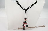 rpn224 Exclusive Hand made Red crystal and black agate faux suede lariat necklace