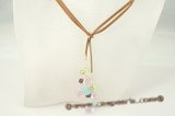 rpn227 Colorful Smoky faceted crystal tan suede long lariat necklace