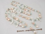 rpn234 2008 fall/winter pink coin pearl &crystal beads hand-knotted rope necklace