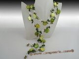 rpn251 Stylish 8-9mm green blister pearls rope spring neckace with shell beads