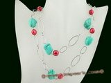 rpn256 Inspiration style turquoise & whorl potao pearl rope spring necklace