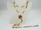 rpn266 Stylish chocolate potato pearl rope necklace with smoking quartz