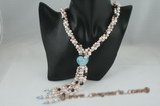 rpn270 Multicolor pearl torsade& glaze heart twisted necklace for you lover