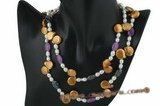 rpn271 Stylish White and gold pearl rope necklace with jasper ovals
