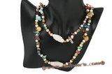 Rpn295 Colorful Pearl Clearance Rope Necklace with Truquoise Beads