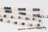 Rpn299 Hand Kontted White and Black Freshwater Potato Pearl Rope Necklace